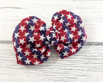 Stars & Stripes Fabric Bow on CHOICE of French Clip or Headband