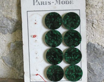 Dark green buttons, card of 8 1950s malachite green plastic buttons 1.4 inch diameter