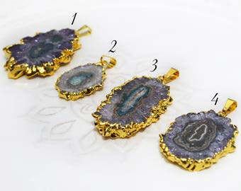 Amethyst Stalactite, Gold Edged, Gold Dipped Stalactite Pendant, Connector Pendant, Electroplated