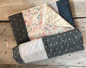 Baby blanket ,handmade baby quilt, unicorns, blue hearts and grey fabrics. Choice of color for the back (soft minky)