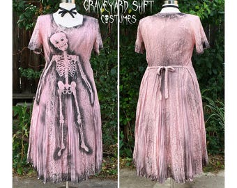 PLUS SIZE 1X Zombie Costume // Zombie Housewife Halloween Costume // Skeleton Dress // Dead Doll // Ghastly Garden Dress Pink