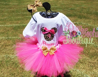 Leopard Minnie Mouse Tutu Set - Leopard Minnie Birthday Set