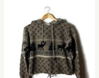 ON SALE Vintage Beige/Oatmeal x Reindeer/tree Hooded Parka from 1980's*