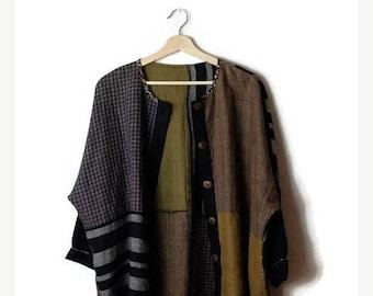 ON SALE Vintage Stripe/Plaid Color blocked Button down Linen Cardigan/Oversized*