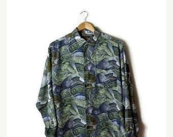 ON SALE Vintage Abstract Printed Men's Slouchy Shirt from 1980's*