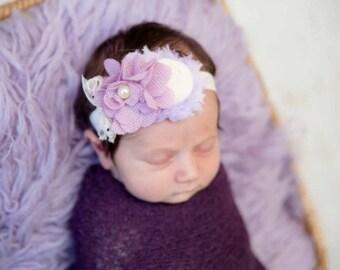 Cream lilac purpke headband, Lilac flower baby headband , Cream lace baby headband