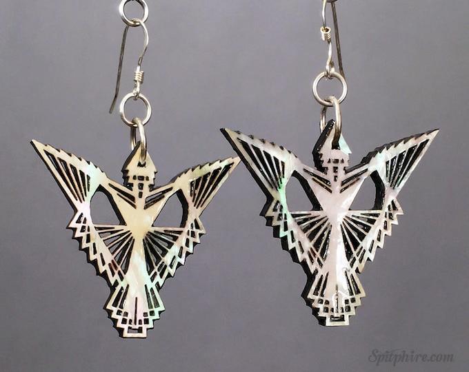 Phoenix Earrings - Mother of Pearl Firebird Earrings - Laser Cut Bird Earrings