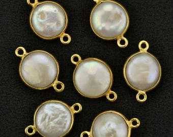30% OFF Natural Pearl, Bezel Round Shape Connector, 12mm Round 24k gold Plated, Double Bail 1pc (PR-10156)