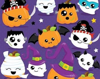 80% OFF SALE Halloween clipart commercial use, pumpkin clipart vector graphics, ghost digital clip art, jack-o-lantern - CL1017