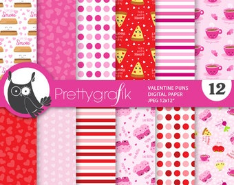 80% OFF SALE Valentine food digital paper, commercial use,  scrapbook papers, puns background - PS878