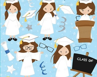 80% OFF SALE Graduation girls clipart commercial use, vector graphics, digital clip art, digital images - CL670
