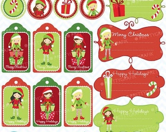 80% OFF SALE 80 Percent 0FF Sale christmas tags label frames clipart commercial use, vector graphics, digital clip art, images, elves - Cl60