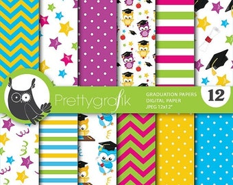 80% OFF SALE graduation owls digital paper, commercial use, scrapbook papers, background - PS714