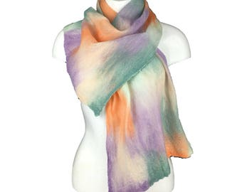 Nuno felted merino wool scarf in pastel shades
