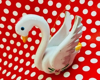 Vintage Wooden Swan Christmas Ornament Decoration