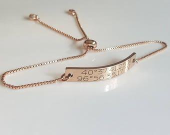 Name Bracelet - Rose Gold Jewelry - Adjustable - Bolo Bracelet - Personalized Bar Bracelet - ID Bracelet - Customized - Friendship Bracelet
