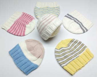 Organic Cotton Newborn Hat: Hand Knitted Striped Baby Cap with Ribbing, White, Yellow, Pink, Blue, Gray Newborn Beanie, Ready to Ship