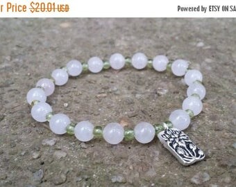 25% Off Rose quartz peridot mala stretch chakra bracelet silver lotus charm