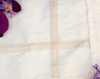 Baptism ruffle baby blanket ivory, baptism blanket, baby blanket, photo prop blanket