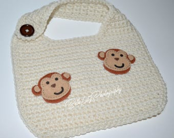 Baby Shower Gift Boy. Size 0-6+ months Baby Boy Bib, Safari Monkey, Cute Baby Boy Gift, Infant Boy Bib, Monkey Baby Boy Bib, New Baby Gift