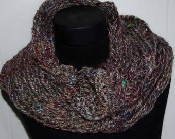 Knit Neck Warmer With Hand Spun Earth Tone Colors / Cowl / Soft and Warm / OOAK Hand Dyed and Hand Spun  Christmas Gift For Her