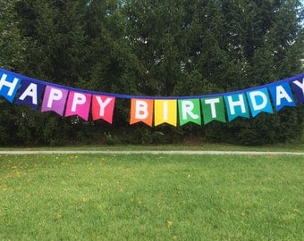 Felt Happy Birthday Banner-Felt Birthday Banner-Birthday Decoration-Birthday Decor-Birthday Party Decor-Birthday Garland-Happy Birthday Sign