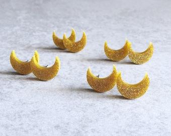 Crescent Moon Stud Earrings - Laser Cut Acrylic Cabochons, Gold Glitter, Moon Phases, La Luna Studs, Moon Child, Celestial, Galaxy Jewelry
