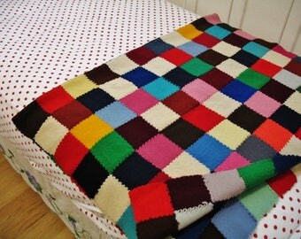 """Vintage Granny Style  Woven Wool Hand Pieced 3"""" Squares Multi Colored Patchwork Afghan Throw Blanket 59x40"""