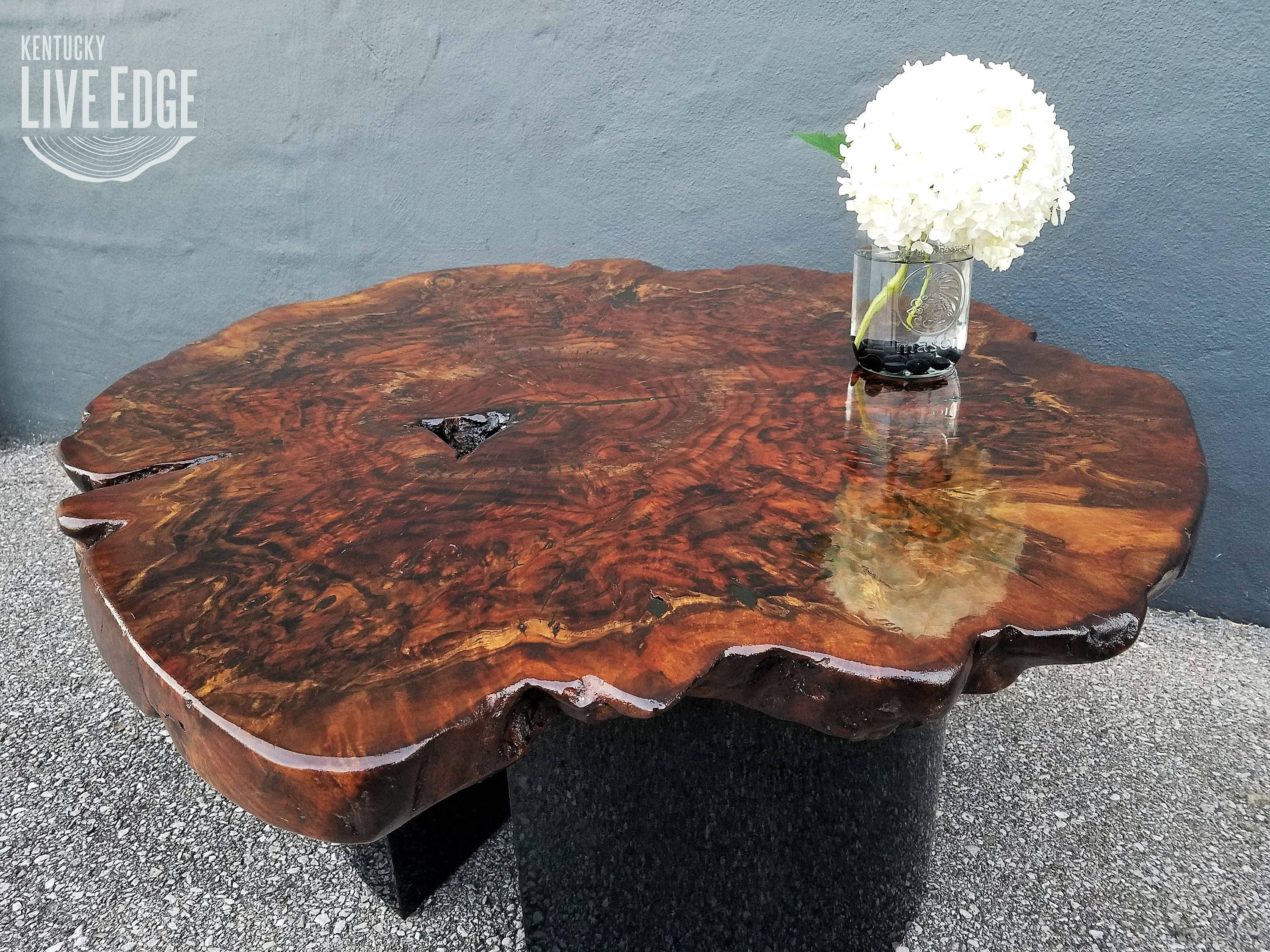 Modern Live Edge Coffee Table Round Slab Claro Walnut Burl