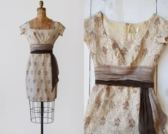 Pat Premo Mocha Dress / 1950s embroidered wiggle dress / vintage chiffon sash dress