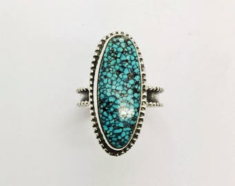 Kingman Turquoise Ring, Turquoise Ring, Handmade turquoise and sterling silver ring