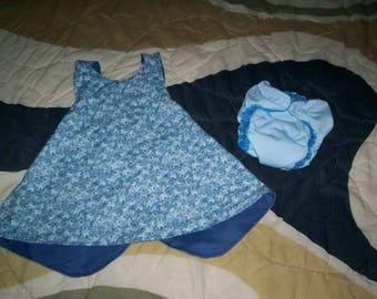 Blue Floral Reversible Sundress Set w/ AI2