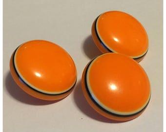 Vintage Orange Buttons, set of 3 Orange Buttons, item 350