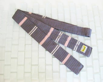 Pink Gray Skinny Tie - Very Skinny tie - Knit Square End - Wembley