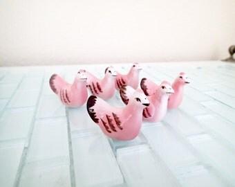 Pink Chicken Porcelain Chopstick Rests / Knife Rests - Set of Asian Bird Rests