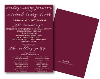 Wedding Ceremony program--Printed or DIY-- Burgundy wedding, order of service, Wedding party,Order of ceremony,  itinerary blush pink, ivory