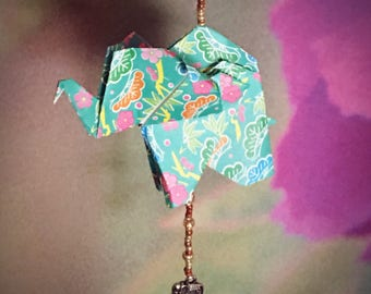 8.5in Beaded Origami Elephant ~8.5 inches