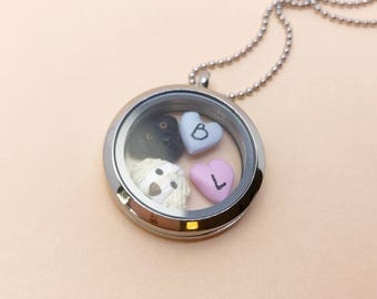 Custom pet mix and match charm Floating Locket - beautiful handmade polymer clay jewellery by Clay & Clasp