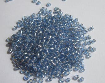 silvery blue color (6 g) (R148) seed beads