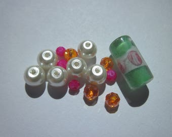 15 round faceted beads and tube glass multicolored (AE12)
