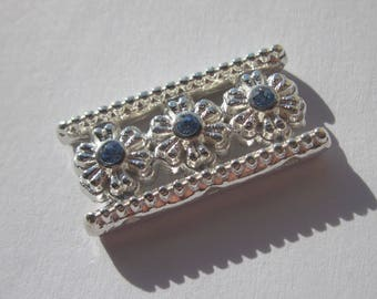 Insert rectangular silver metal with Rhinestone 13 x 26 mm (C2)