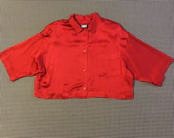 1990's, red, silk, semi-cropped, boxy cut, button up, collar blouse, by DKNY, Women's size 8.  100% silk