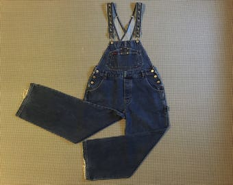 1990's. wide leg, denim, overalls, by FUBU, Boys' Size Large, Women's size Medium