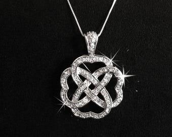 Large Heart Necklace, Cubic Zirconia Edwardian Woven Heart Pendant, CZ, Edwardian, Romantic Jewelry, Edwardian Jewelry