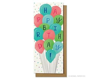 Birthday Card - Birthday Balloons Money Card - Happy Birthday Card - Hennel Paper Co. - BD44
