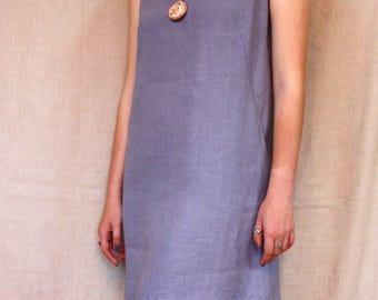 Blue linen dress, Summer Dress, Grey blue dress, Short dress, Flax dress, Linen Sundress, Sleeveless dress, Dress with pockets