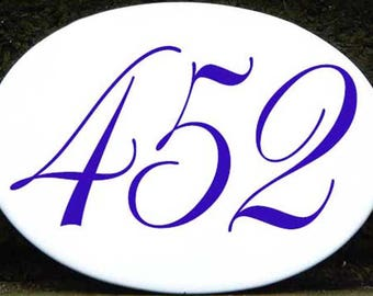 Oval address numbers, Order in 6 colors, outdoor house numbers, Door sign, hand painted porcelain mailbox numbers, Welcome sign, gift