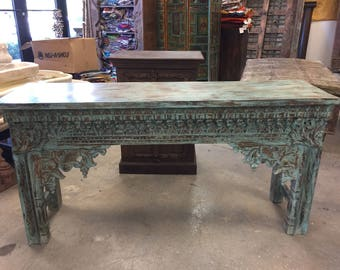 Antique Indian Intricately Hand Carved Blue Console Hall Table End Sofa Tables Eclectic Luxury Rustic Distressed
