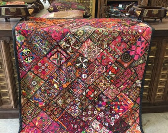 Antique Vintage Tapestry Pink Embroidered Hand Crafted Rug Wall Decor FREE SHIP Early Black Friday