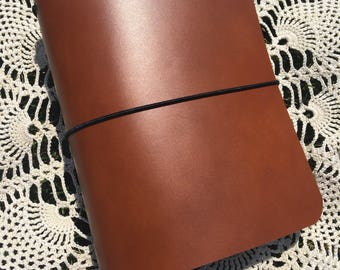 JournalJot (A6) - Cognac - Leather Traveler's Notebook/Fauxdori